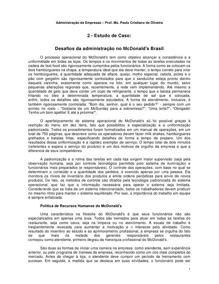 Administração de Empresas – Prof. Ms. Paulo Cristiano de Oliveira                                   2 - Estudo de Caso:   ...