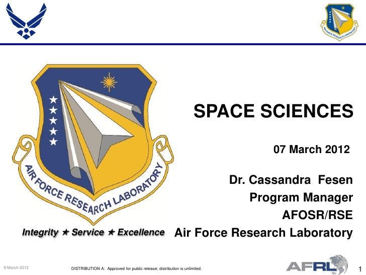 SPACE SCIENCES                                                                                             07 March 2012  ...