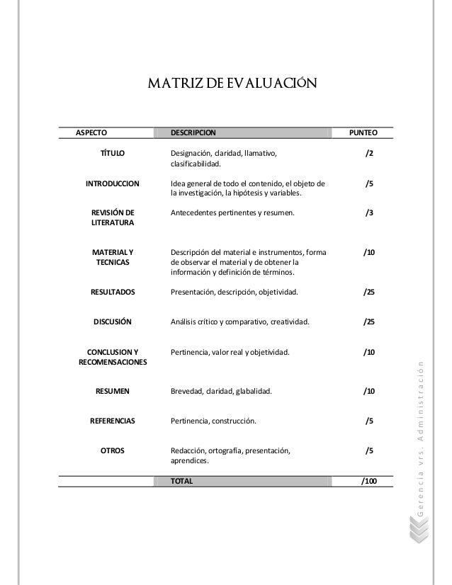 Gerenciavrs.Administración MATRIZ DE EVALUACIÓN ASPECTO DESCRIPCION PUNTEO TÍTULO INTRODUCCION REVISIÓN DE LITERATURA MATE...