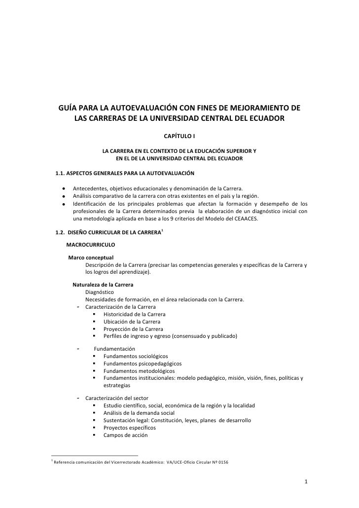GUÍA PARA LA AUTOEVALUACIÓN CON FINES DE MEJORAMIENTO DE          LAS CARRERAS DE LA UNIVERSIDAD CENTRAL DEL ECUADOR      ...