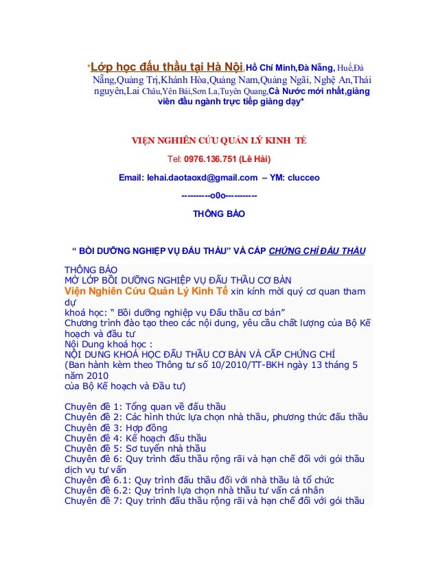 LỚP HỌC ĐẤU THẦU TẠI HÀ NỘI,TPHCM MỚI NHẤT