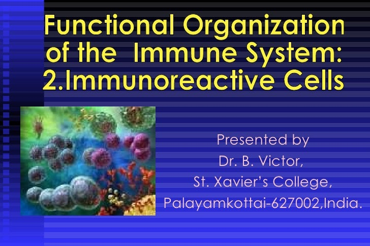 Presented by Dr. B. Victor,  St. Xavier's College, Palayamkottai-627002,India. Functional Organization  of the  Immune Sys...