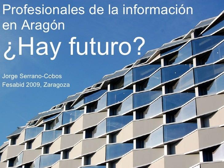 Profesionales de la información en Aragón ¿Hay futuro? Jorge Serrano-Cobos Fesabid 2009, Zaragoza