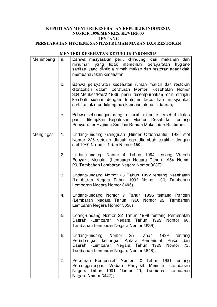 KEPUTUSAN MENTERI KESEHATAN REPUBLIK INDONESIA              NOMOR 1098/MENKES/SK/VII/2003                        TENTANG P...