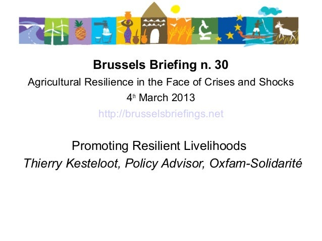 30thBrussels Briefing on Agricultural Resilience- 2.Thierry Kesteloot: Promoting resilient livelihoods cta briefing