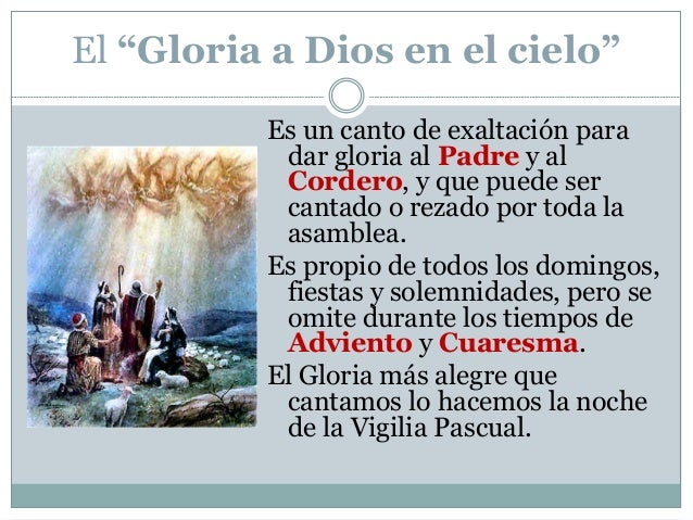 Resultado de imagen para 7. – GLORIA (del ritual de la misa)