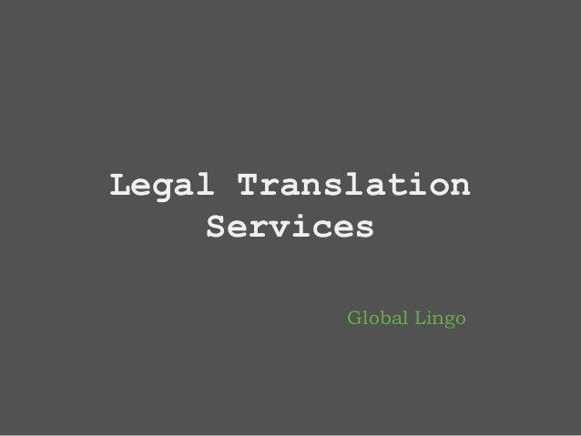 Global Lingo Legal Translation Services