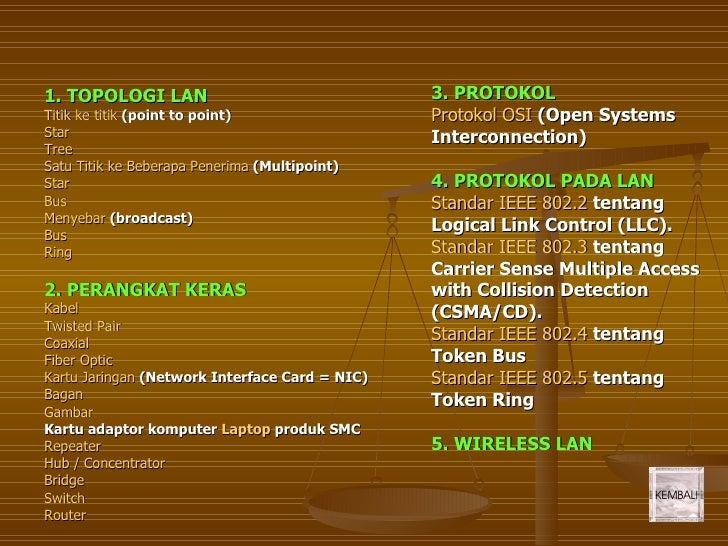 1. TOPOLOGI LAN                                 3. PROTOKOL Titik ke titik (point to point)                 Protokol OSI (...
