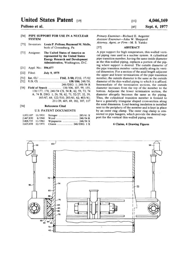 United States Patent [19J Pollono et al. [54] PIPE SUPPORT FOR USE IN A NUCLEAR SYSTEM [75] Inventors: Louis P. Pollono; R...