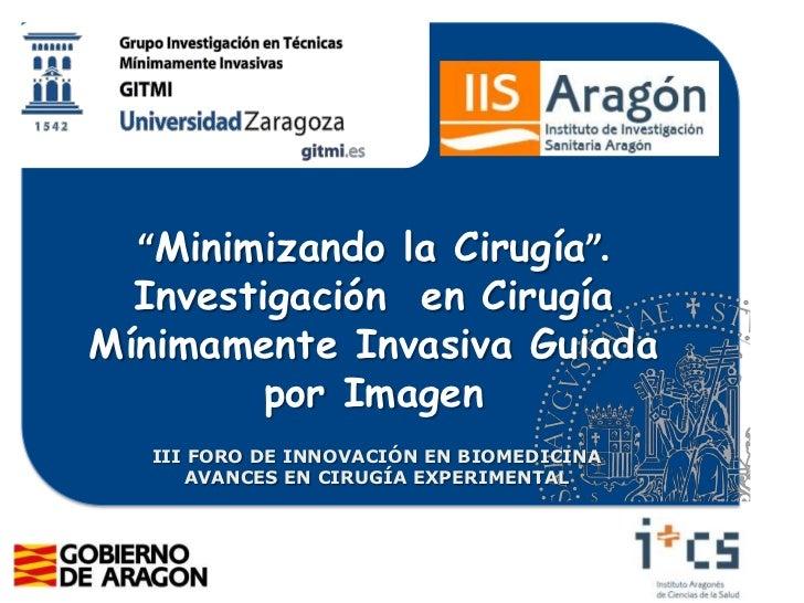 Minimizando la cirugía–Investigación en Radiología Intervencionista. Miguel Ángel de Gregorio