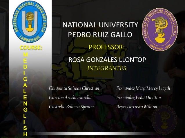 NATIONAL UNIVERSITY                  PEDRO RUIZ GALLOCOURSE:                        PROFESSOR: M E                  ROSA G...