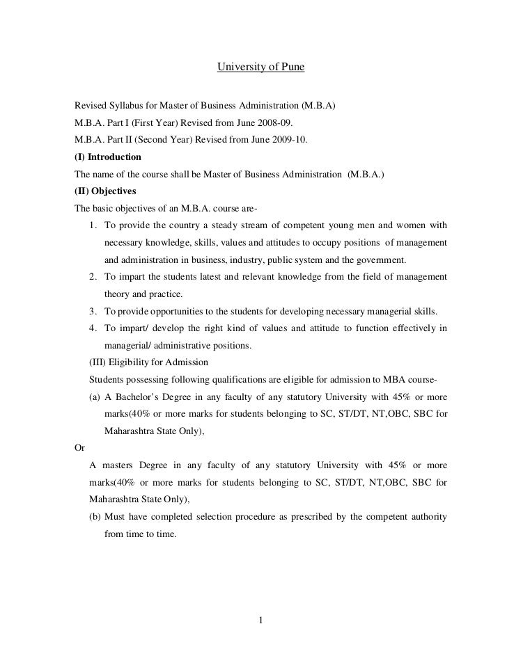 University of PuneRevised Syllabus for Master of Business Administration (M.B.A)M.B.A. Part I (First Year) Revised from Ju...