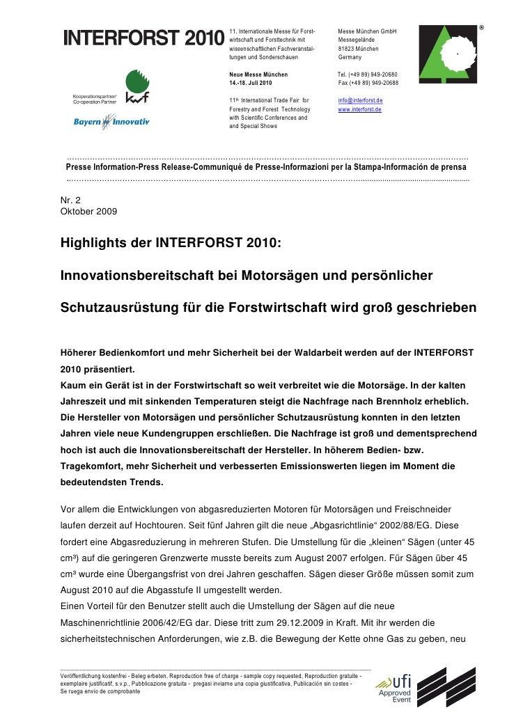 11. Internationale Messe für Forst-        Messe München GmbH                                                             ...