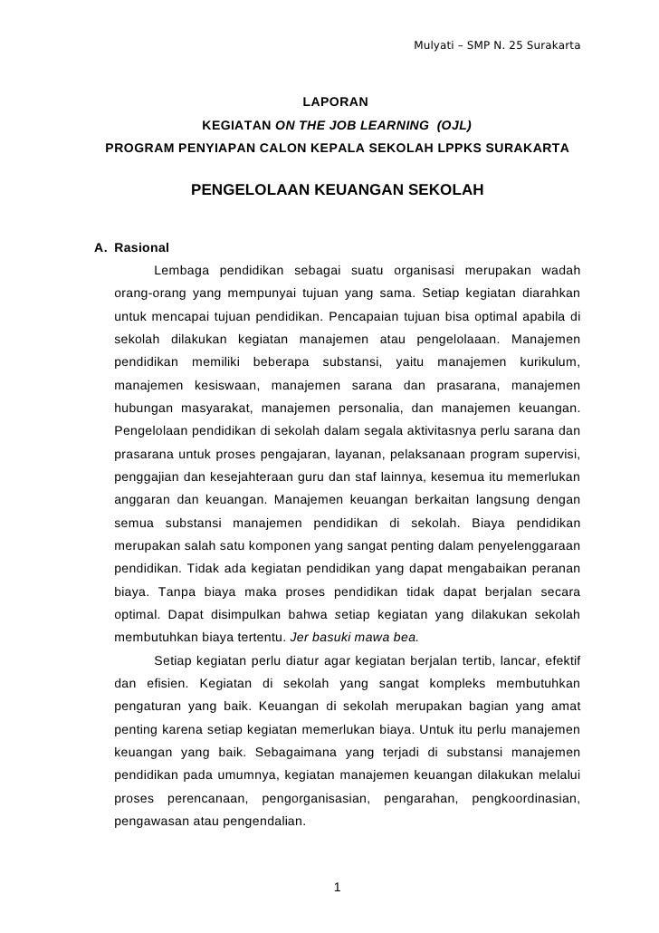 Mulyati – SMP N. 25 Surakarta                                  LAPORAN                KEGIATAN ON THE JOB LEARNING (OJL) P...