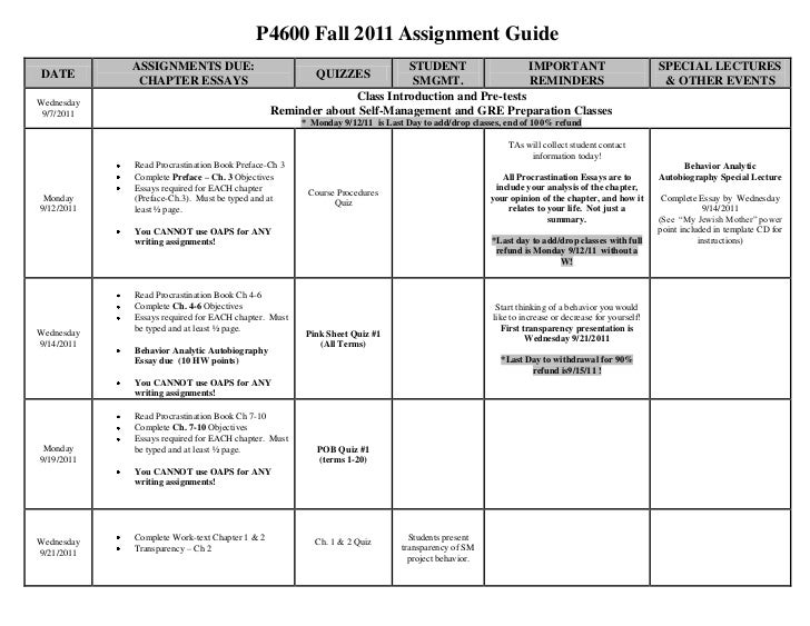 P4600 Fall 2011 Assignment Guide<br /><ul><li>DATEASSIGNMENTS DUE:CHAPTER ESSAYSQUIZZESSTUDENT SMGMT.IMPORTANTREMINDERSSPE...