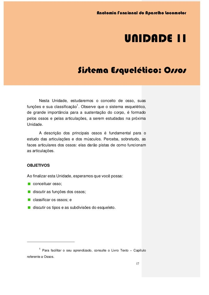 Anatomia Funcional do Aparelho Locomotor                                                                UNIDADE 1I        ...
