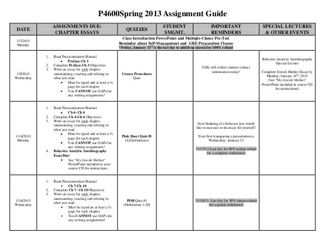 P4600Spring 2013 Assignment Guide                 ASSIGNMENTS DUE:                                                      ST...