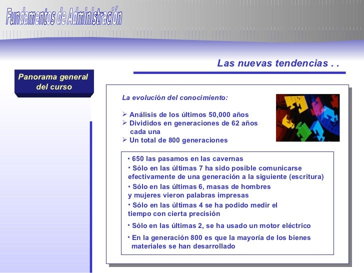 Panorama general  del curso Panorama general  del curso Las nuevas tendencias . . Fundamentos de Administración  <ul><li>L...