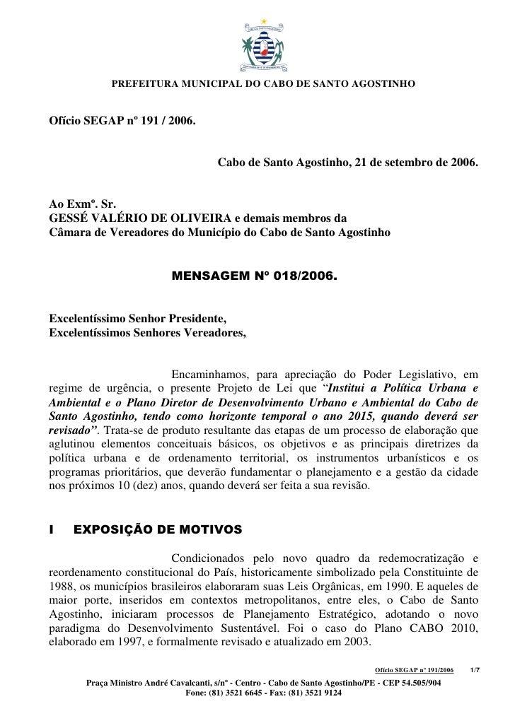 PREFEITURA MUNICIPAL DO CABO DE SANTO AGOSTINHO   Ofício SEGAP nº 191 / 2006.                                            C...