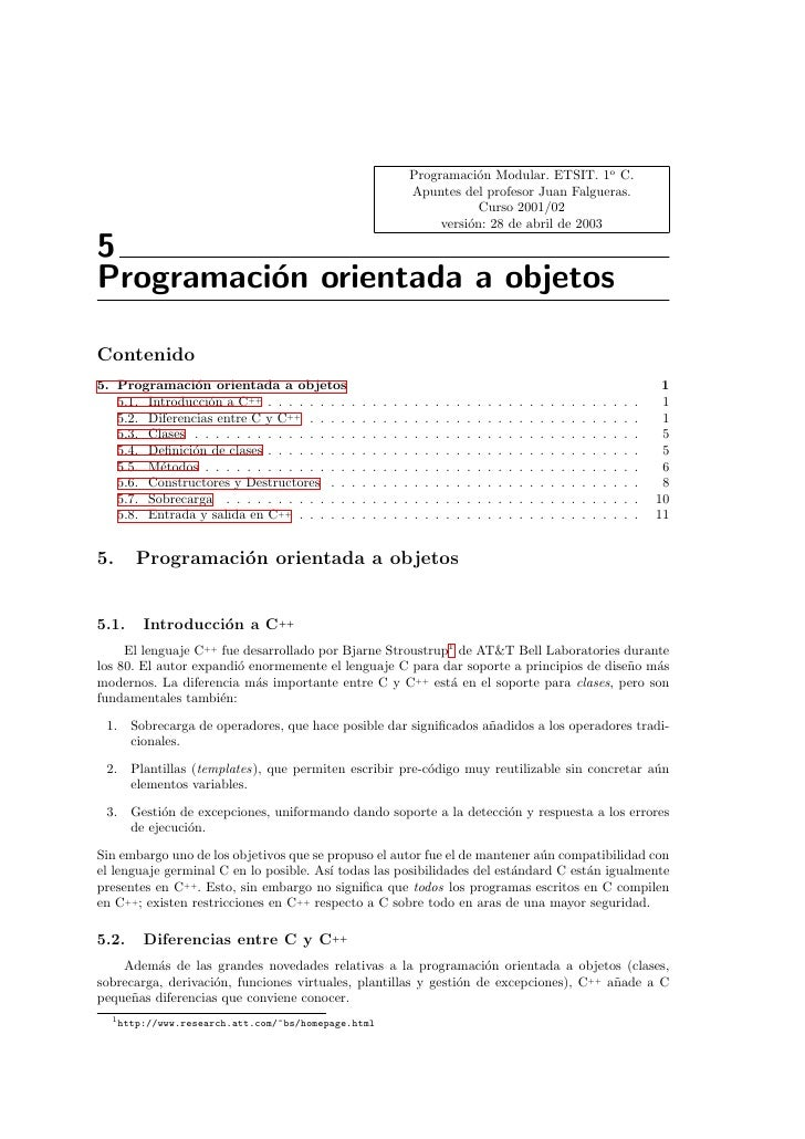 Programaci´n Modular. ETSIT. 1o C.                                                                                   o    ...