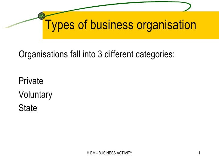 Types of business organisation <ul><li>Organisations fall into 3 different categories: </li></ul><ul><li>Private  </li></u...