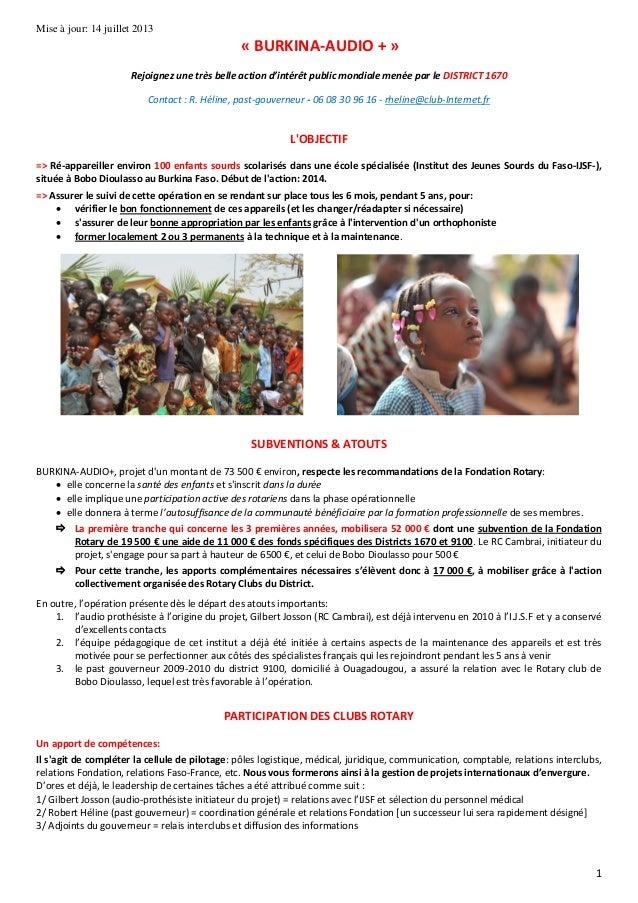 1 Mise à jour: 14 juillet 2013 « BURKINA-AUDIO + » Rejoignez une très belle action d'intérêt public mondiale menée par le ...