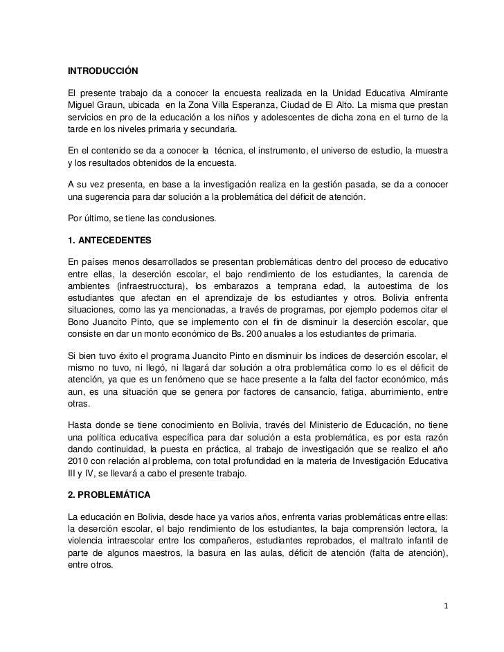 INTRODUCCIÓN <br />El presente trabajo da a conocer la encuesta realizada en la Unidad Educativa Almirante Miguel Graun, u...