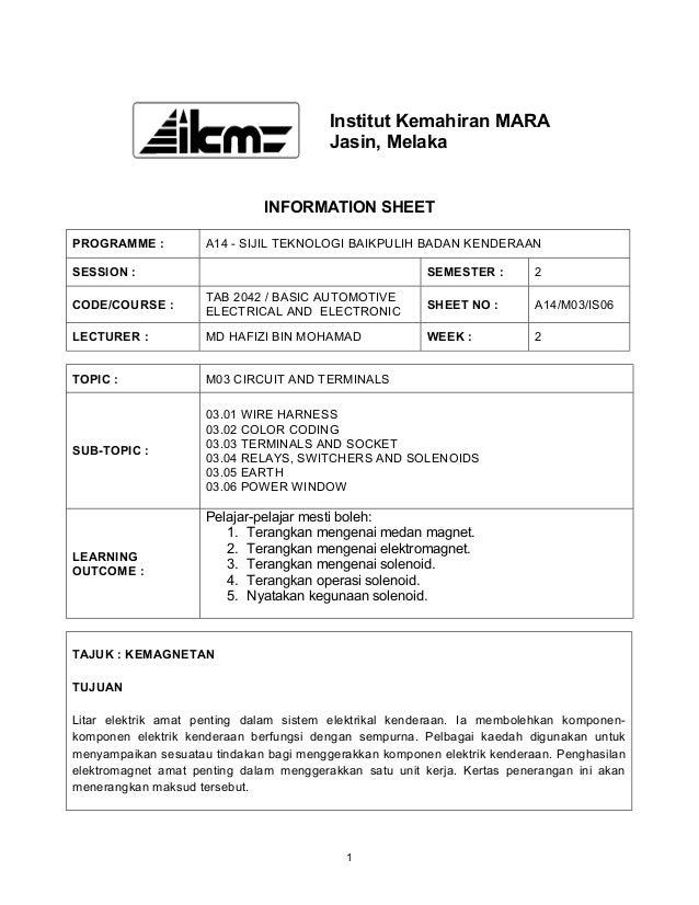 Institut Kemahiran MARA                                         Jasin, Melaka                              INFORMATION SHE...