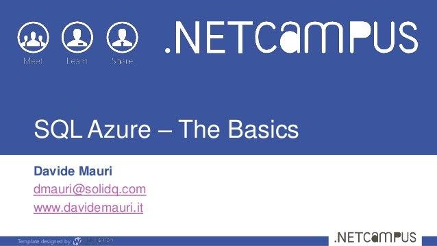 SQL Azure - The Basics