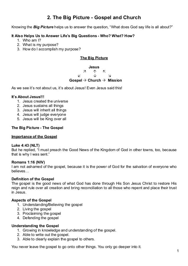 2. The Big Picture - Gospel and Church - Notes