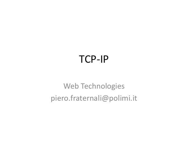 Web technologies: recap on TCP-IP