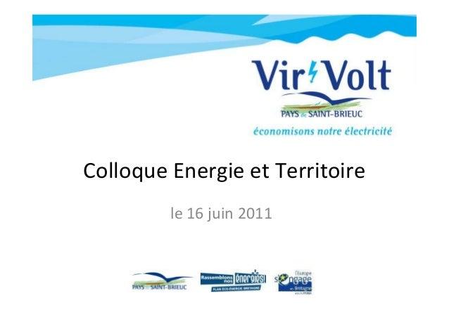 Colloque Energie et Territoire le 16 juin 2011