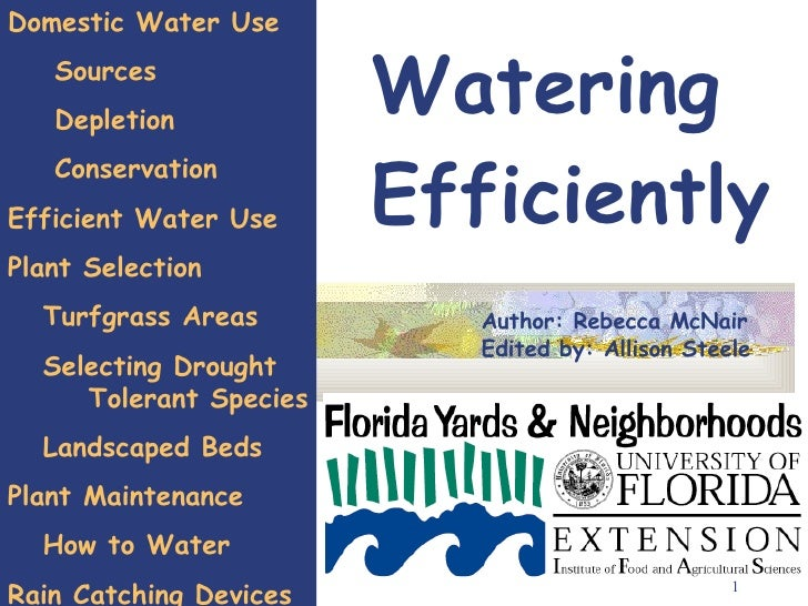 Watering Efficiently Author: Rebecca McNair Edited by: Allison Steele Domestic Water Use Sources Depletion Conservation Ef...