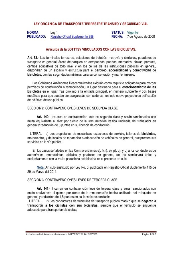 ArtículosdebicicletasvinculadosconlaLOTTTSVYELRALOTTTSV Página1DE5  LEY ORGANICA DE TRANSPORTE TERRESTRE TR...