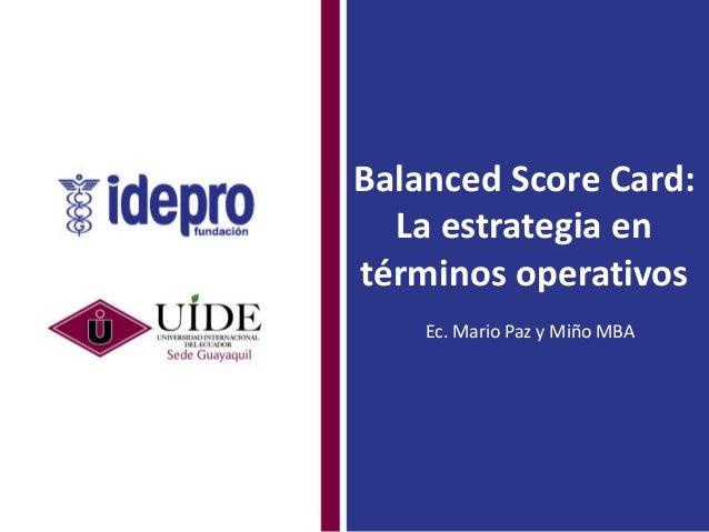 Charla Informativa: Balance Scorecard