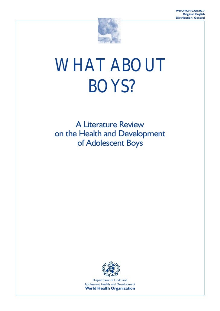 """""""What about boys? A literature review on the health and development of adolescent boys"""" (WHO) 2000"""