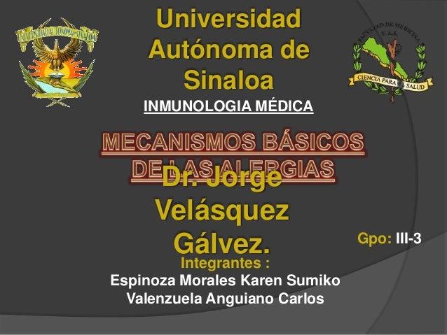 Universidad Autónoma de Sinaloa INMUNOLOGIA MÉDICA  Dr. Jorge Velásquez Gálvez.  Integrantes : Espinoza Morales Karen Sumi...