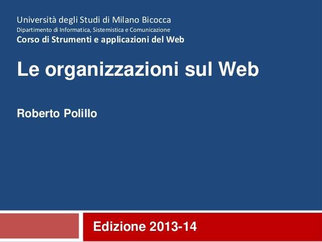 20. Le organizzazioni sul web