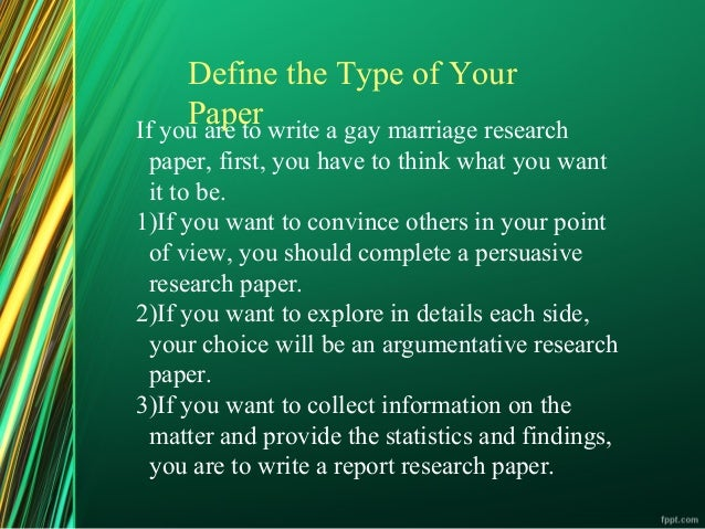 Research paper on gay marriage?