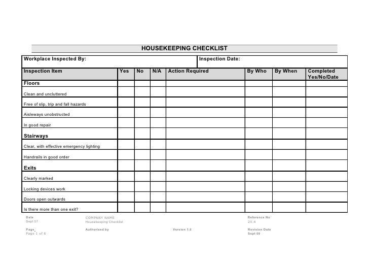 Daily Checklist Housekeeping – Printable Editable Blank