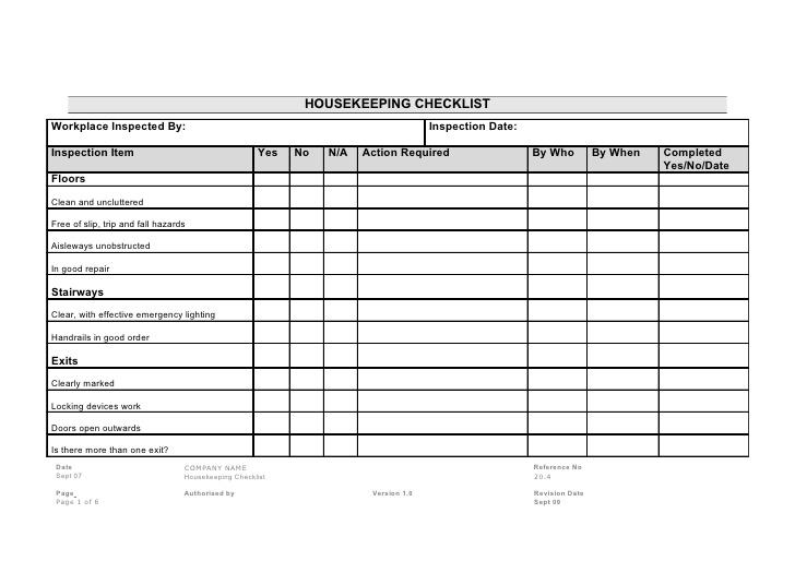 warehouse housekeeping checklist template