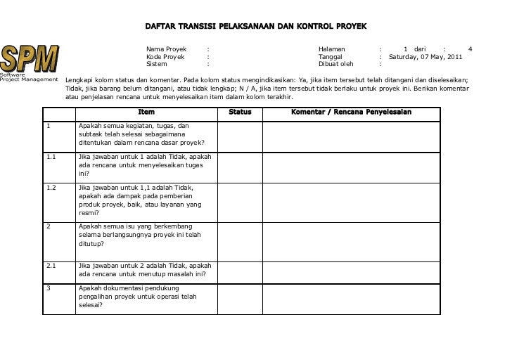20 daftar transisi pelaksanaan dan kontrol proyek