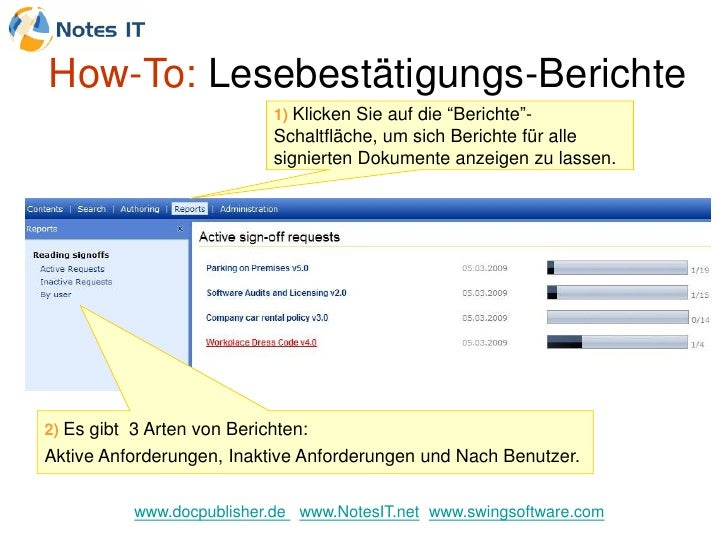 """How-To: Lesebestätigungs-Berichte                             1) Klicken Sie auf die """"Berichte""""-                          ..."""