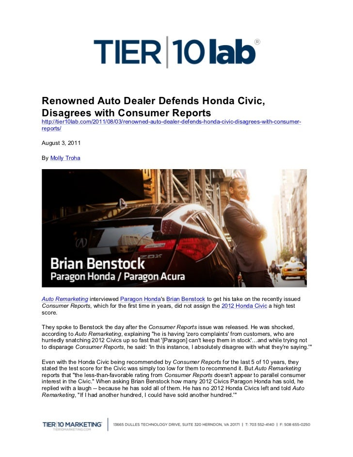 Renowned Auto Dealer Defends Honda Civic,Disagrees with Consumer...