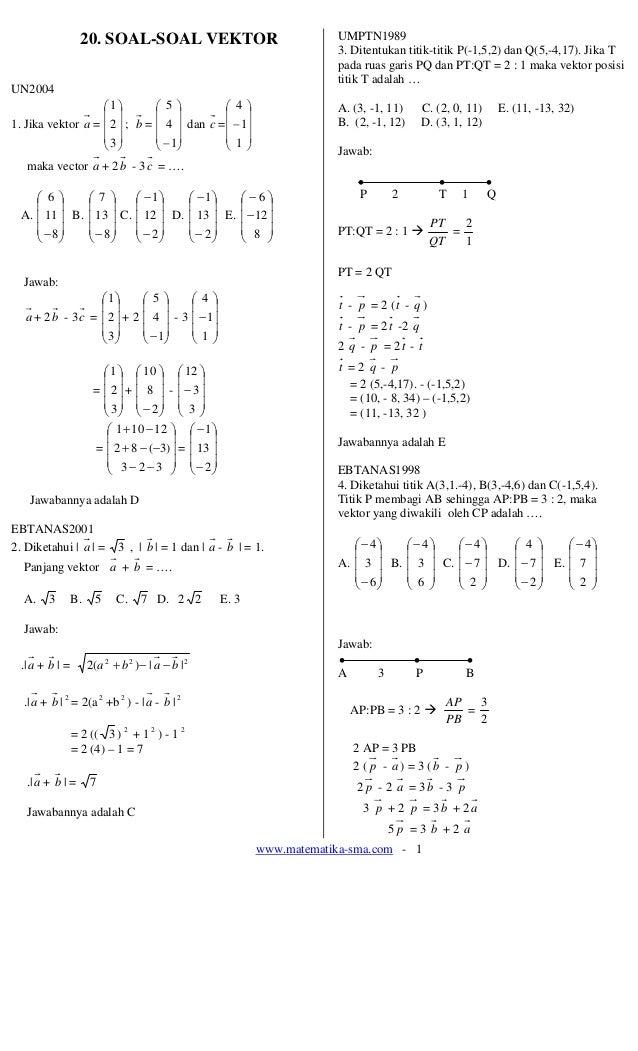 www.matematika-sma.com - 1 20. SOAL-SOAL VEKTOR UN2004 1. Jika vektor a = ⎟ ⎟ ⎟ ⎠ ⎞ ⎜ ⎜ ⎜ ⎝ ⎛ 3 2 1 ; b = ⎟ ⎟ ⎟ ⎠ ⎞ ⎜ ⎜ ⎜ ...