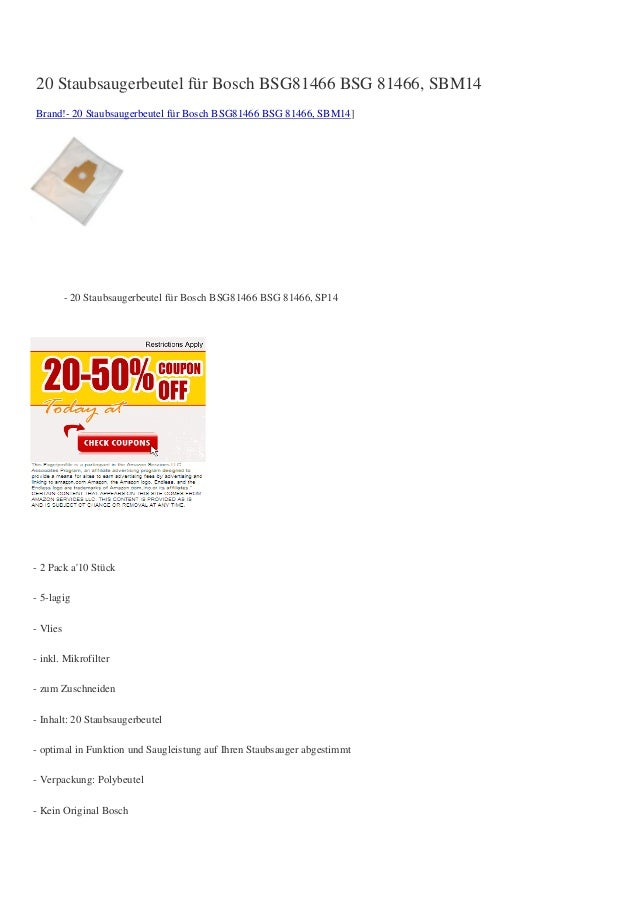 20 Staubsaugerbeutel für Bosch BSG81466 BSG 81466, SBM14Brand!- 20 Staubsaugerbeutel für Bosch BSG81466 BSG 81466, SBM14]-...