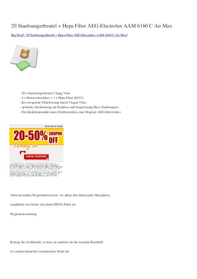 20 Staubsaugerbeutel + Hepa Filter AEG-Electrolux AAM 6160 C Air MaxBig Deal!- 20 Staubsaugerbeutel + Hepa Filter AEG-Elec...