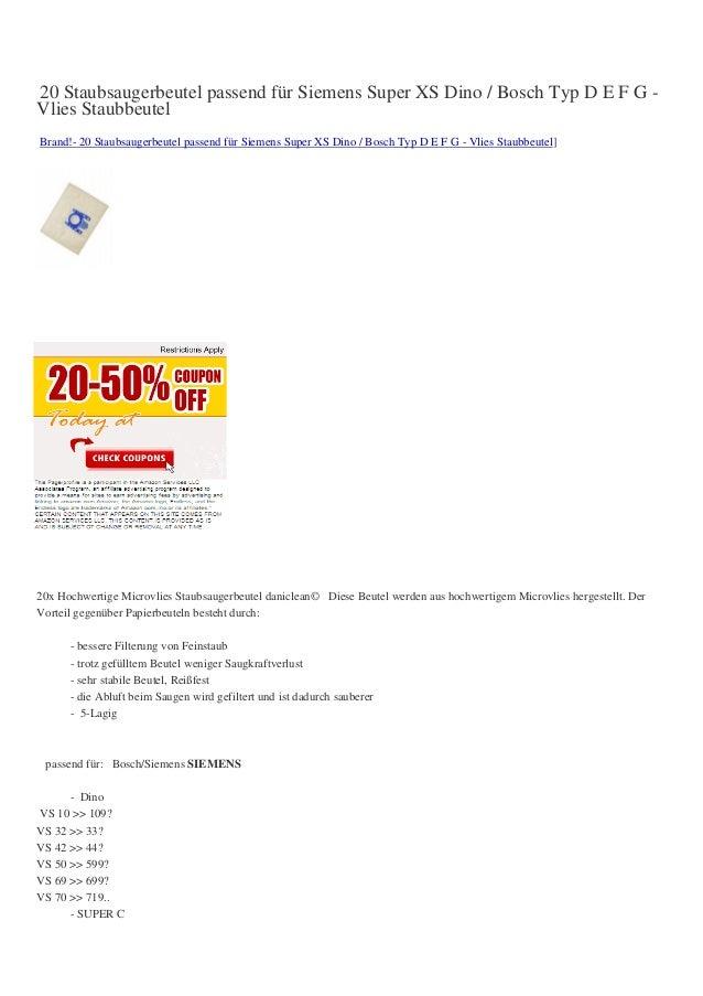 20 Staubsaugerbeutel passend für Siemens Super XS Dino / Bosch Typ D E F G -Vlies StaubbeutelBrand!- 20 Staubsaugerbeutel ...
