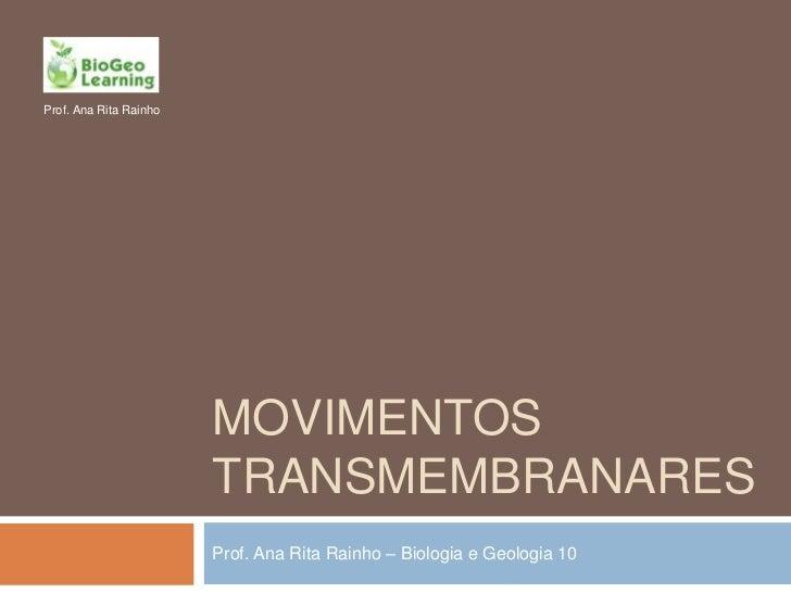 Prof. Ana Rita Rainho                        MOVIMENTOS                        TRANSMEMBRANARES                        Pro...
