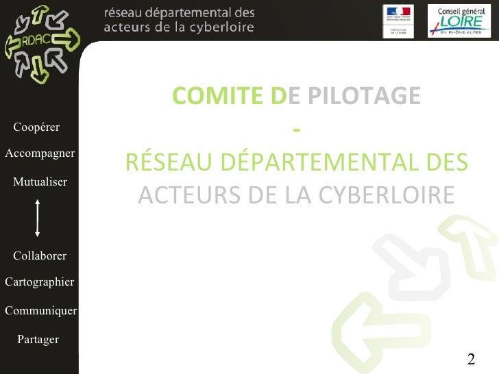 COMITE D E   PILOTAGE - RÉSEAU DÉPARTEMENTAL DES  ACTEURS DE LA CYBERLOIRE Cartographier Partager Mutualiser Accompagner C...